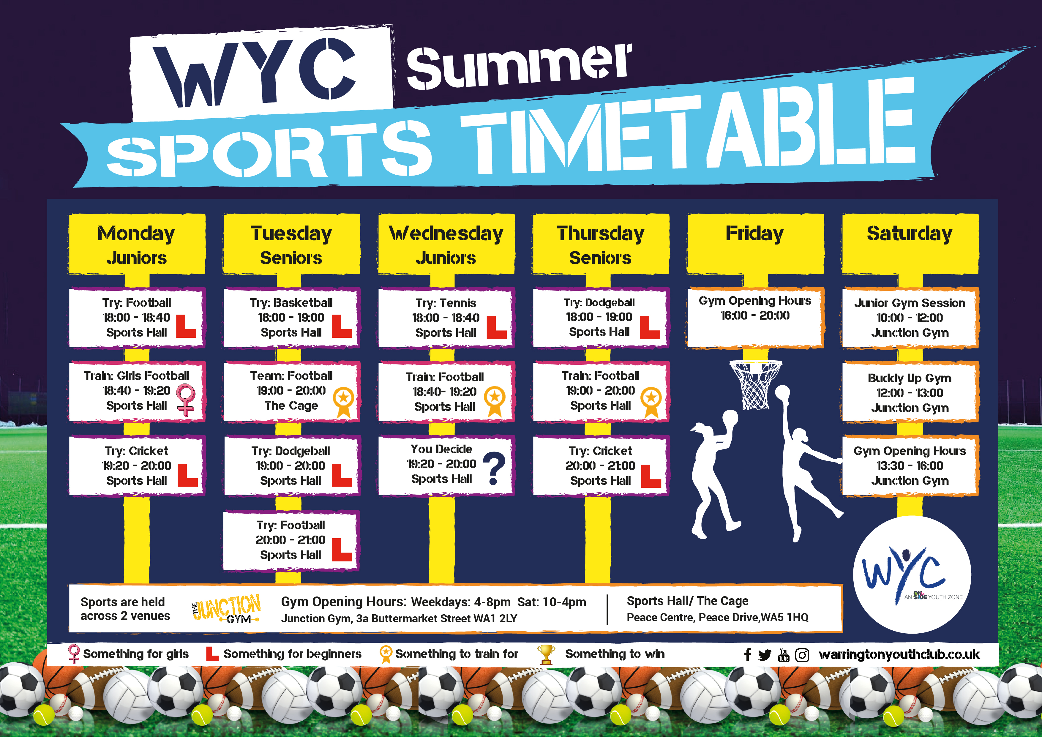 Warrington Youth Club Sports Timetable Summer 2019