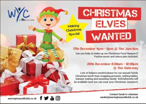 Christmas Help Wanted.Christmas Elves Hampers Warrington Youth Club