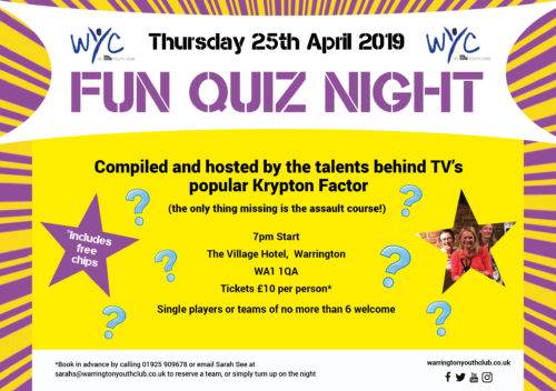 Warrington Youth Club Quiz Night 25th April 2019