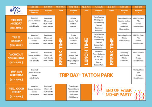 WYC Easter Holiday Club Timetable
