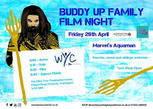 Warrington Youth Club Buddy Up Film Night Aquaman